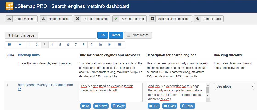 Metainfo Dashboard to measure length of title and description in pixels